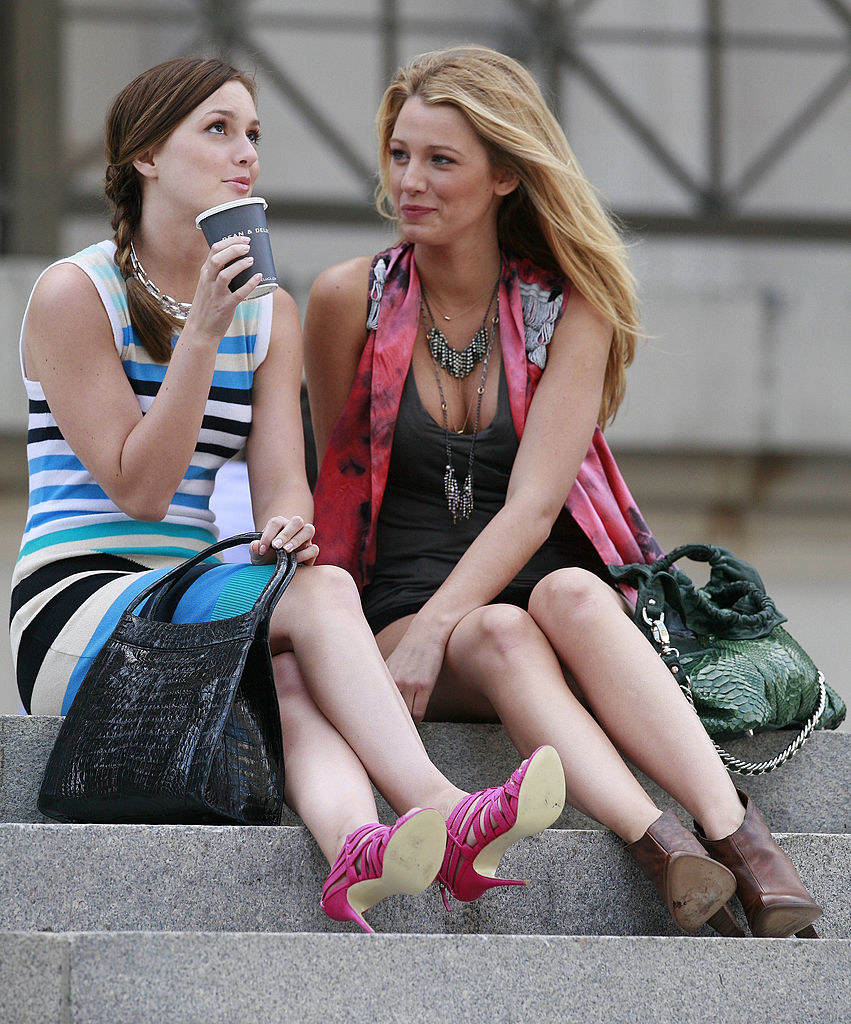 """Blake Lively (R) and Leighton Meester are seen on the set of the TV show """"Gossip Girls"""""""