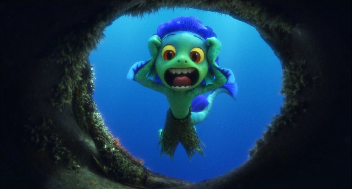 Sea monster Luca shouting into a hole