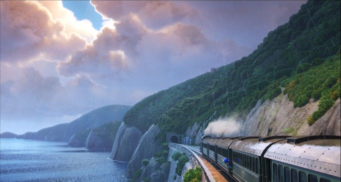 The train headed toward a tunnel