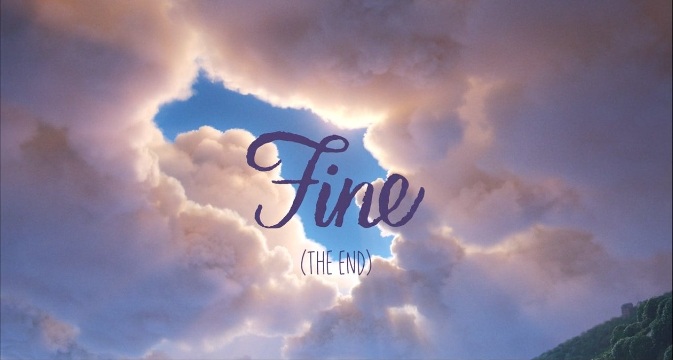 """""""Fine"""" written over the clouds"""