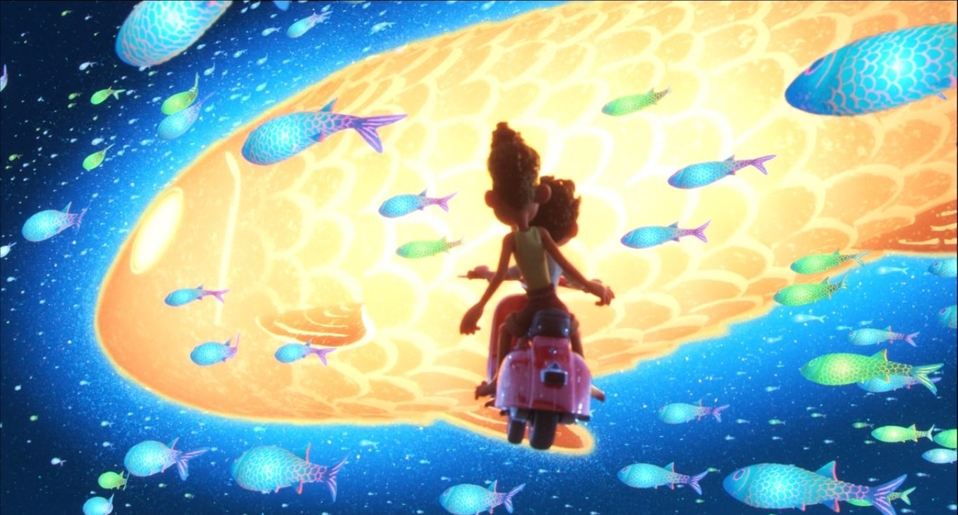 Luca and Alberto on a Vespa flying towards a sky full of glowing fish
