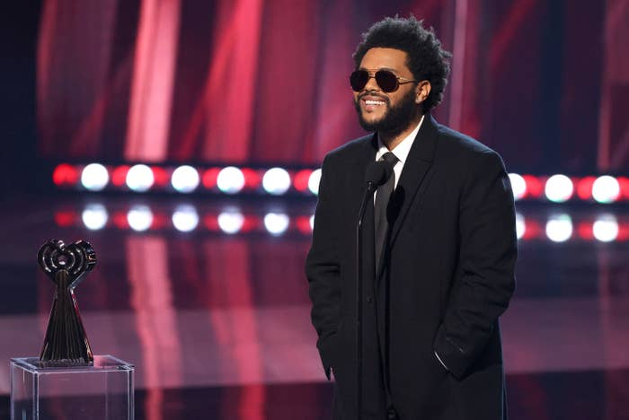 The Weeknd accepts the Male Artist of the Year onstage at the 2021 iHeartRadio Music Awards at The Dolby Theatre in Los Angeles, California, which was broadcast live on Fox on May 27, 2021