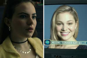 jeanette on the left and a tv report about kate wallis missing on the right