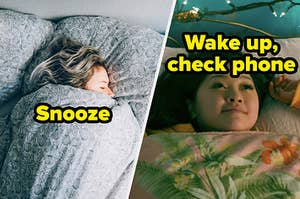 """Two people in bed with text, """"Snooze"""" and """"Wake up, check phone"""""""