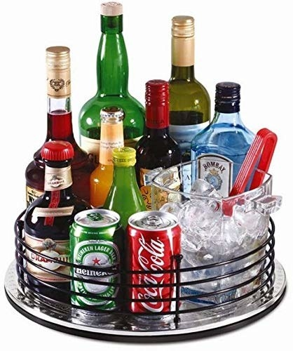 Black revolving tray with alcohol, soda, and ice