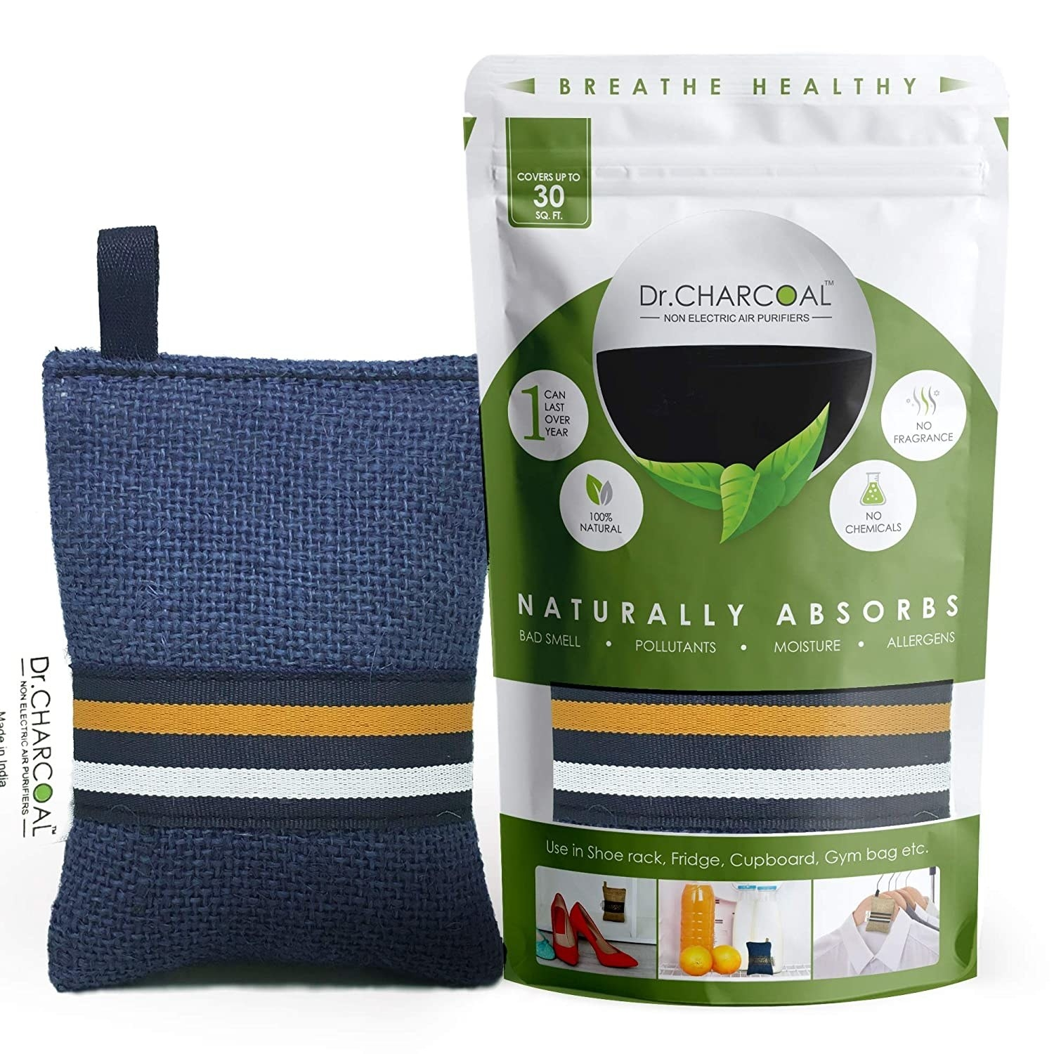 Blue pouch of non-electric charcoal air purifier