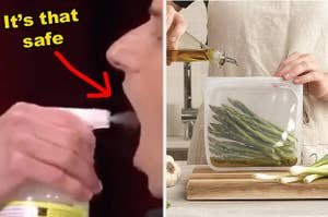 left image: person ingesting all natural household cleaner, right image: reusable silicone storage bag