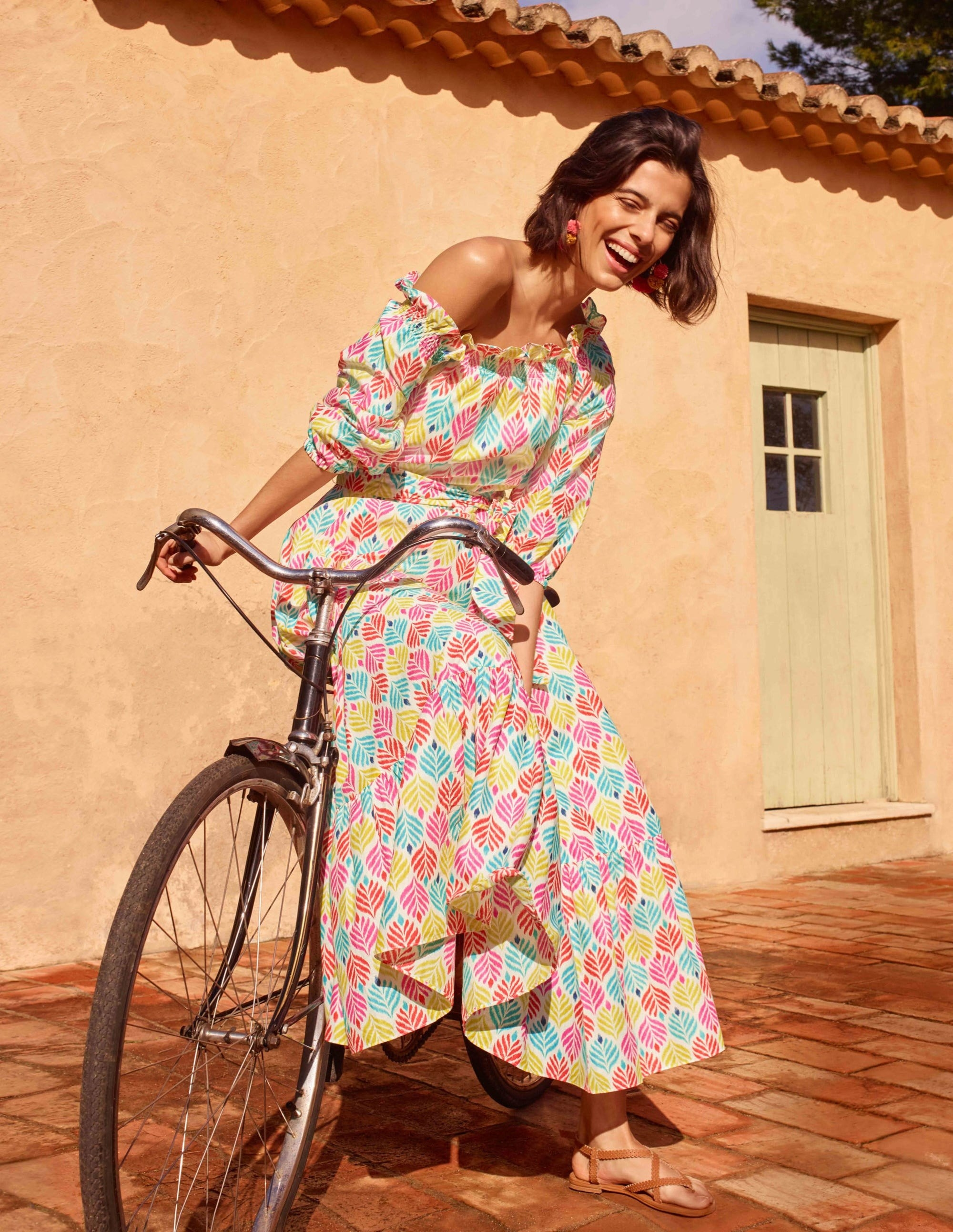 midi dress with color leaf pattern