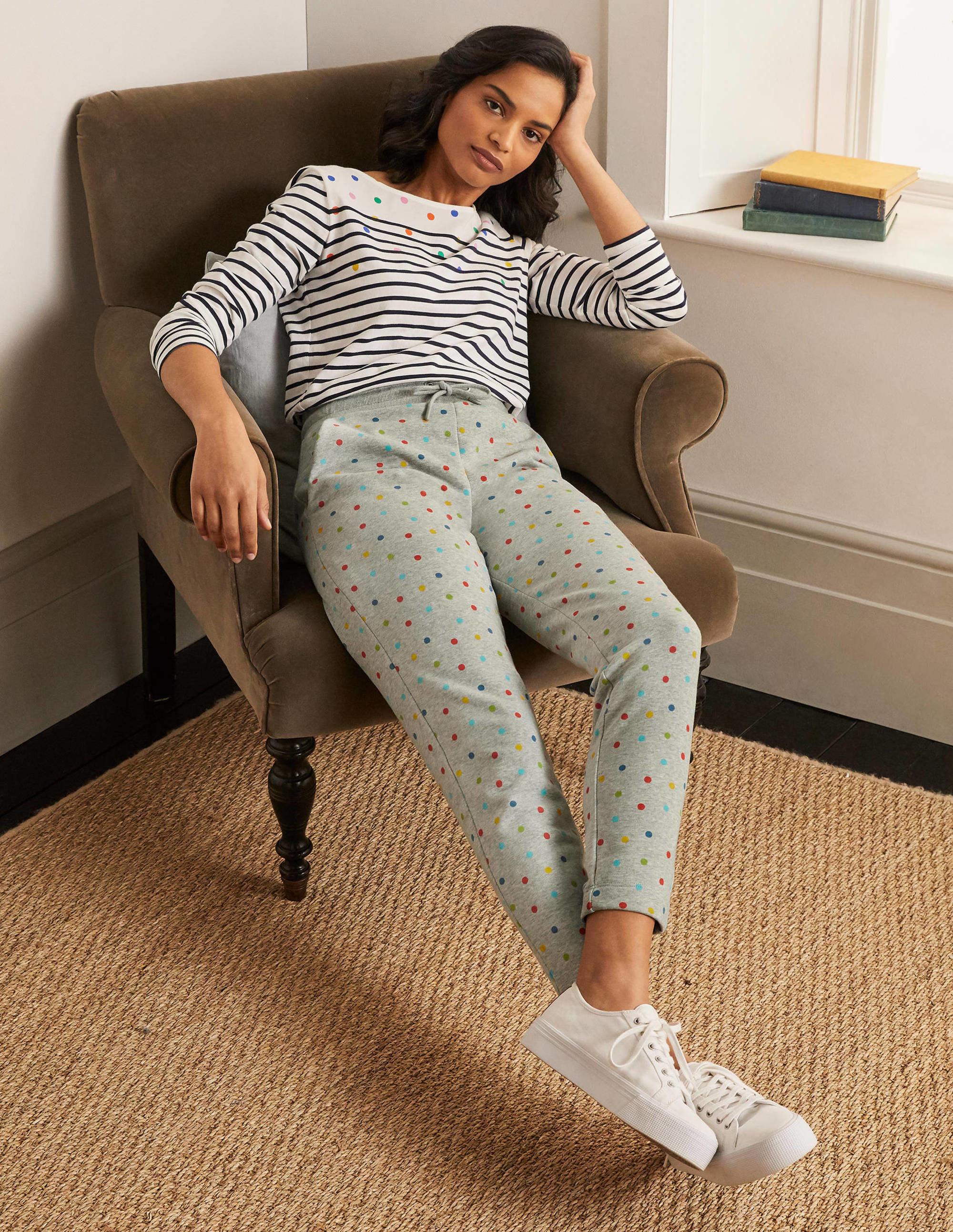 grey sweatpants with colorful polka dots