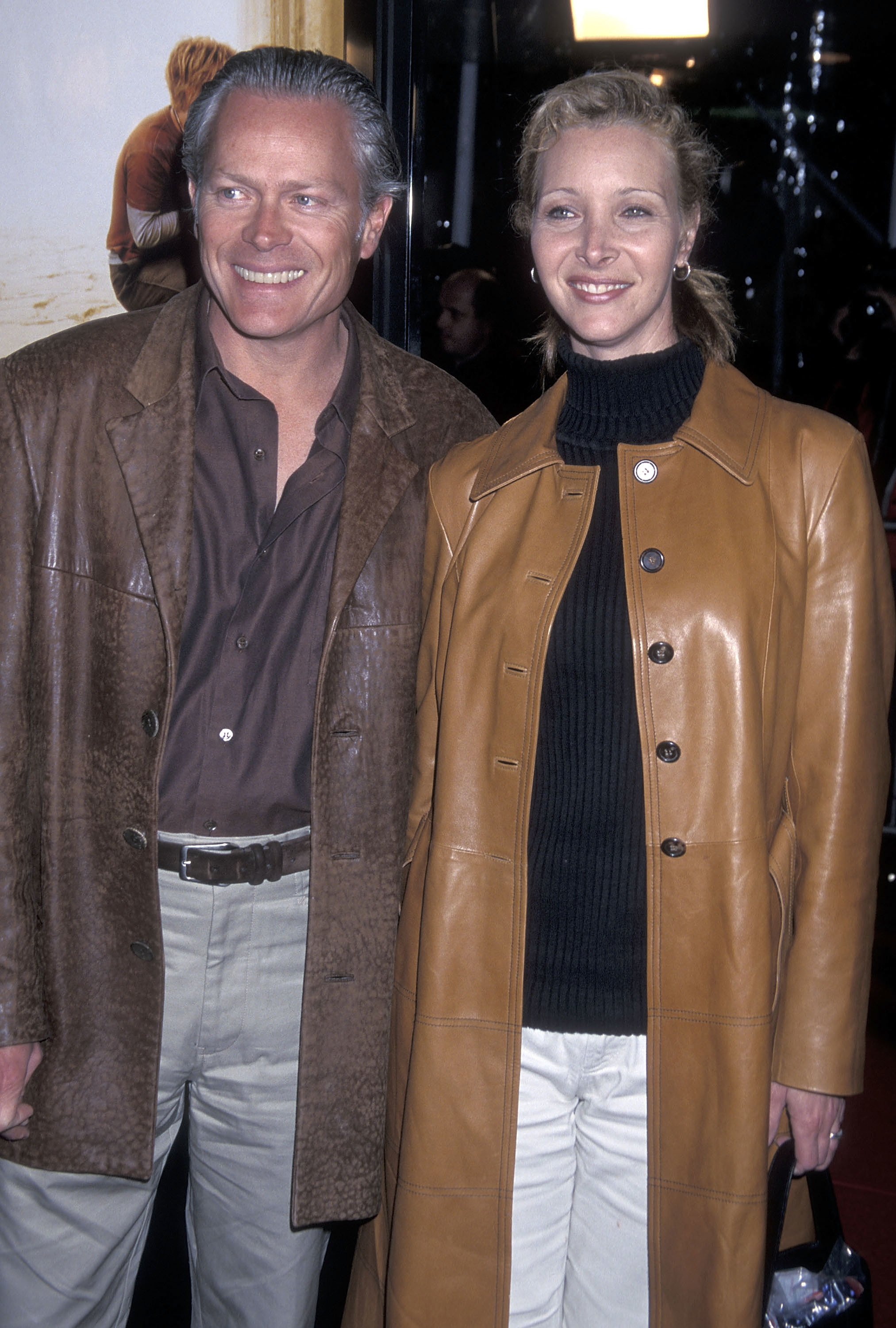 wearing long matching leather coats in 2001