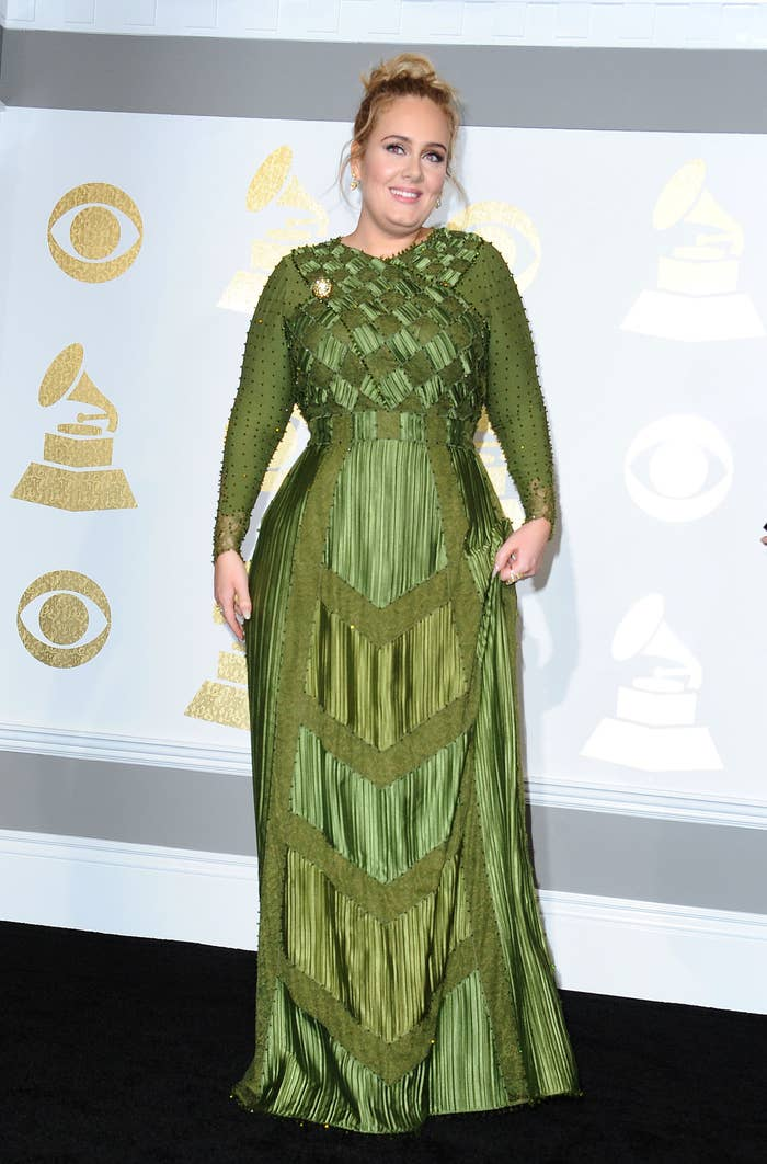 Singer Adele poses in the press room at the 59th GRAMMY Awards at Staples Center on February 12, 2017 in Los Angeles, California