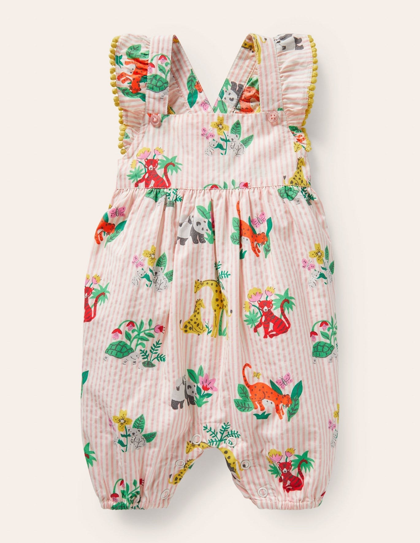 pink striped baby onesie with jungle animals on it