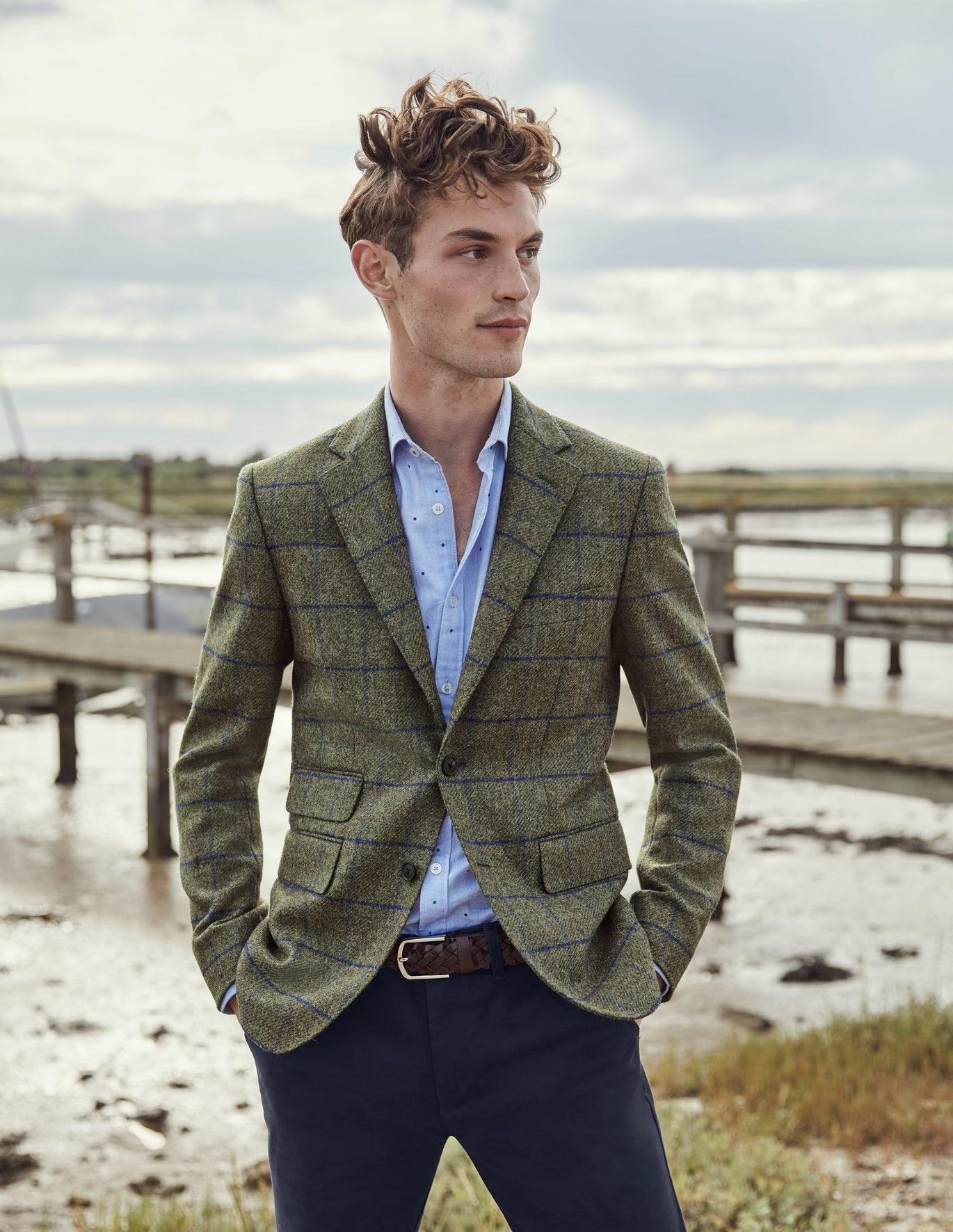 grey tweed blazer with blue grid design