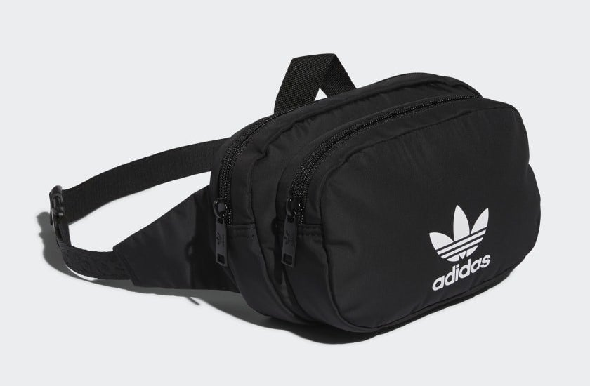 black adidas waist bag with the trefoil symbol on the front