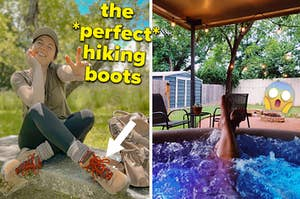A split thumbnail of hiking boots and a person in a hot tub