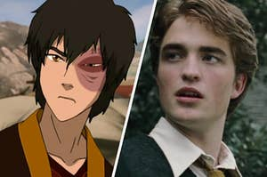 A close up of Zuko as he stares at someone off screen and Cedric Diggory looks off to the side.