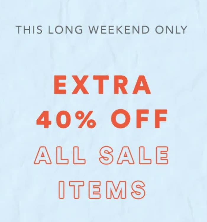sale banner saying extra 40% off sale items