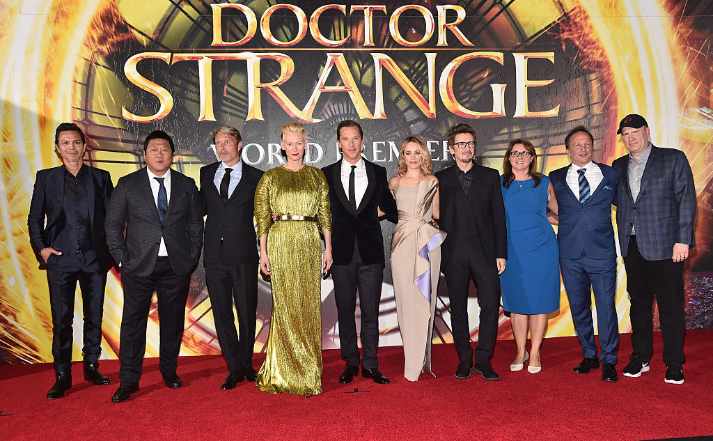 """""""Doctor Strange"""" cast members, writers, producers, and other executives stand together at the LA premiere"""