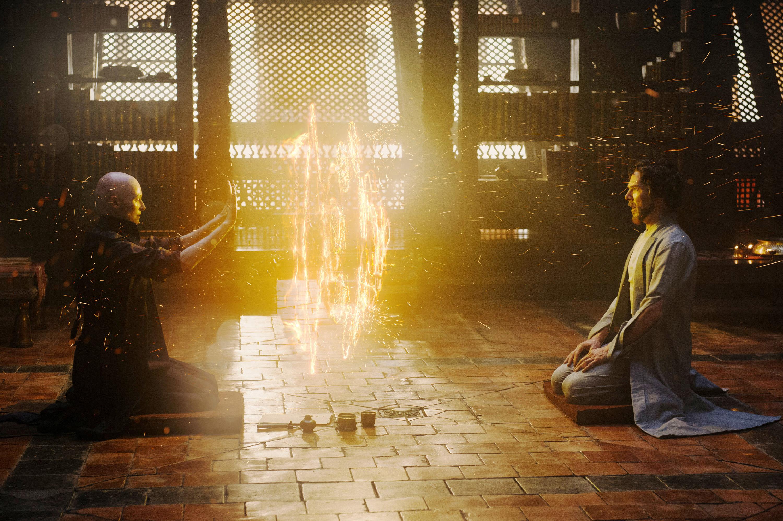 Tilda Swinton as the Ancient One teaching the student Benedict Cumberbatch's Dr. Stephen Strange the mystic arts