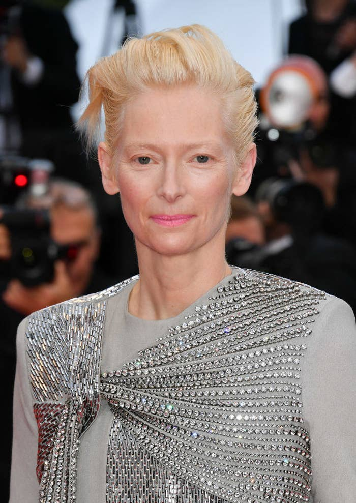 Tilda Swinton in a gray sparkly outfit