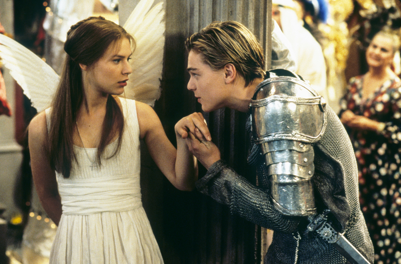 Leonardo DiCaprio kissing Claire Danes' hand