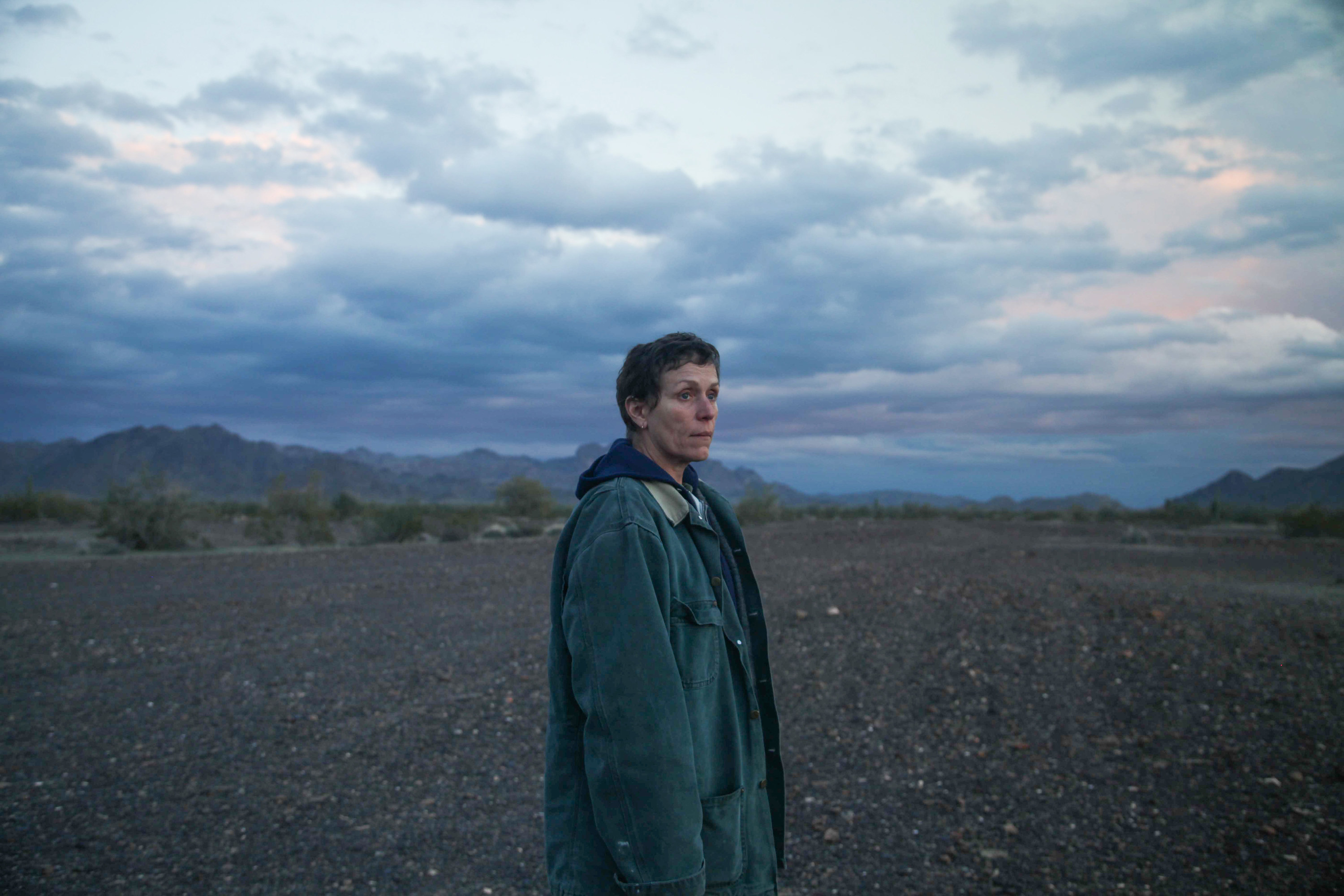 Frances McDormand looking out into the distance