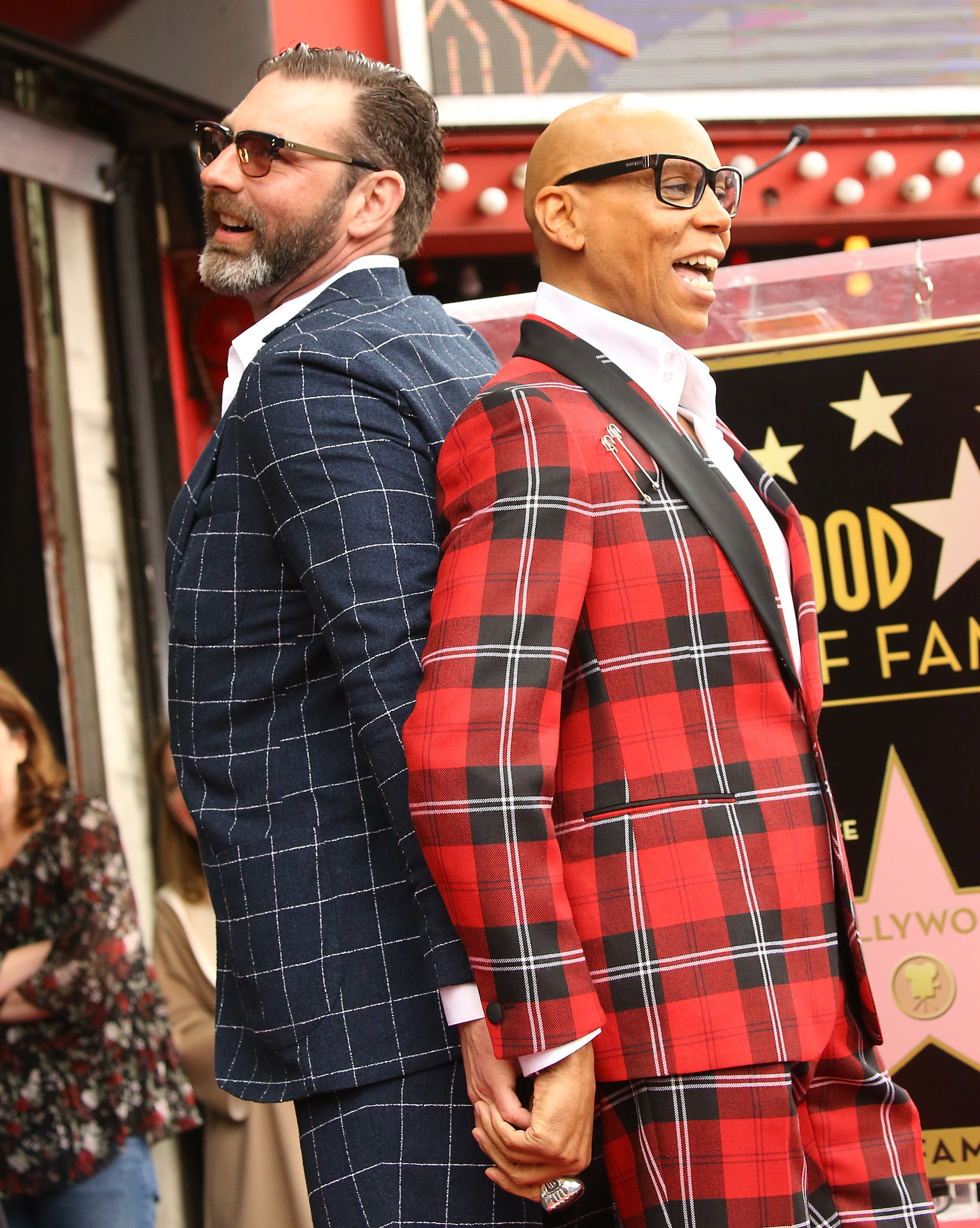 holding hands on the walk of fame