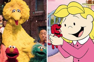 Big Bird, Elmo and Zoe from Sesame Street, Emily from Clifford the Big Red Dog