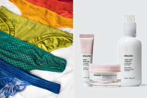 to the left: a rainbow of underwear, to the right: glossier products