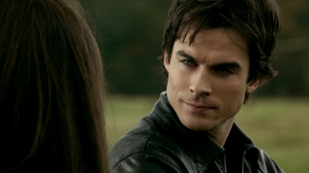 damon wears a leather jacket while sitting in a field, looking at elena with furrowed brows