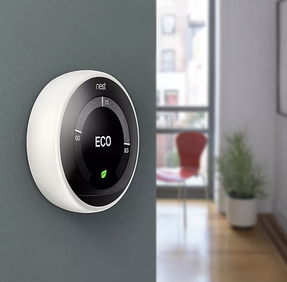 The Google Nest Mounted to a wall