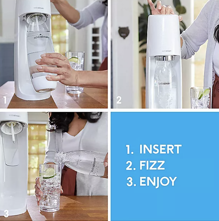 A person demonstrating how to use SodaStream in three steps