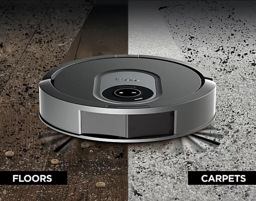 The robo vac on carpet and hardwood floors