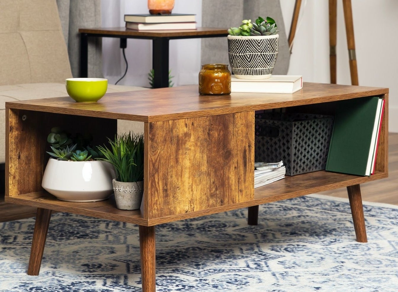 an open unit wooden coffee table