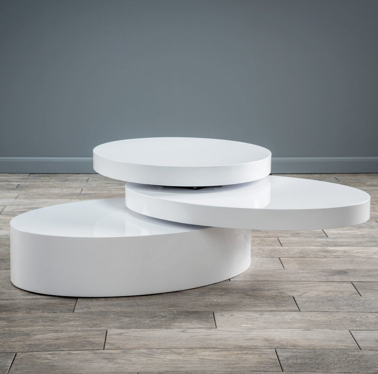 a round table with three layers that are rotatable