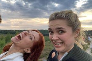 Scarlett Johansson and Florence Pugh goofing around on the set of Black Widow
