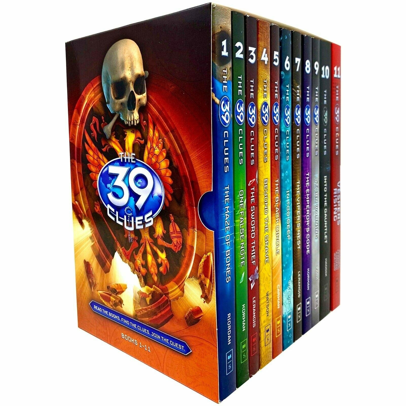 Box set of 39 Clues series with colorful spines on display. Front image is a skull and other orange objects
