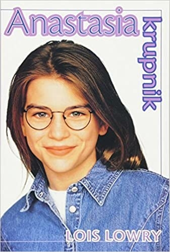 Cover of Anastasia Krupnik by Lois Lowry, featuring young model/actress with glasses and denim shirt