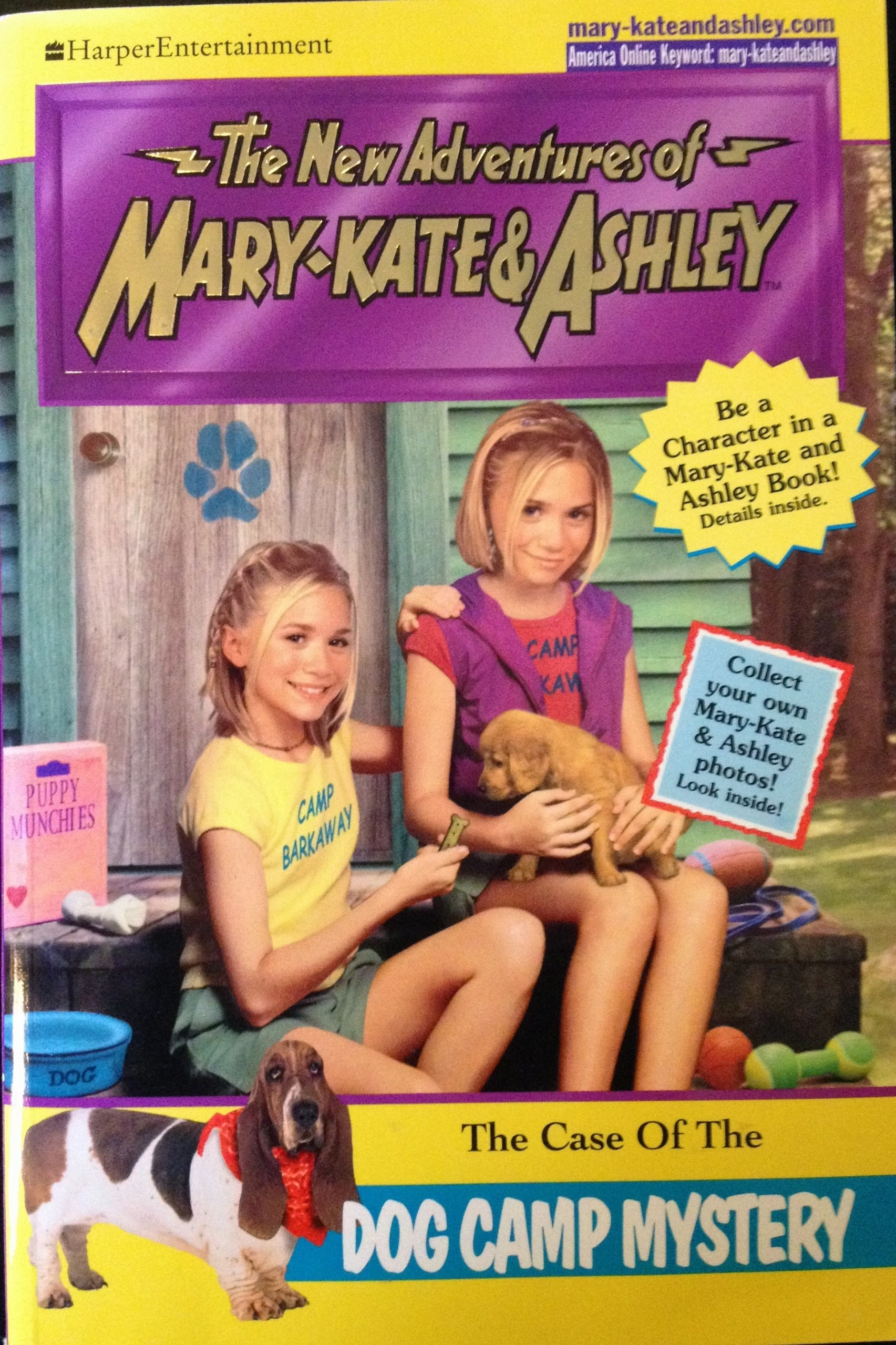 Book cover of Mary Kate and Ashley Olsen, sitting with a dog