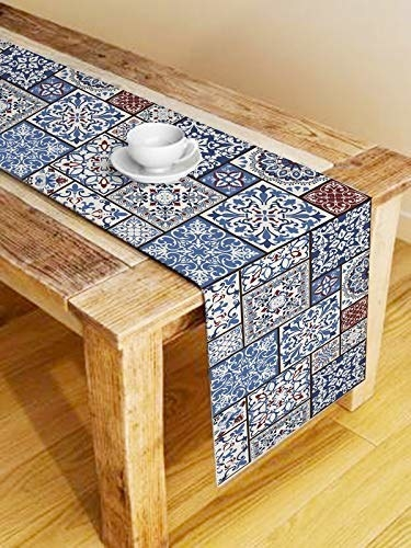 White and blue mosaic print table runner