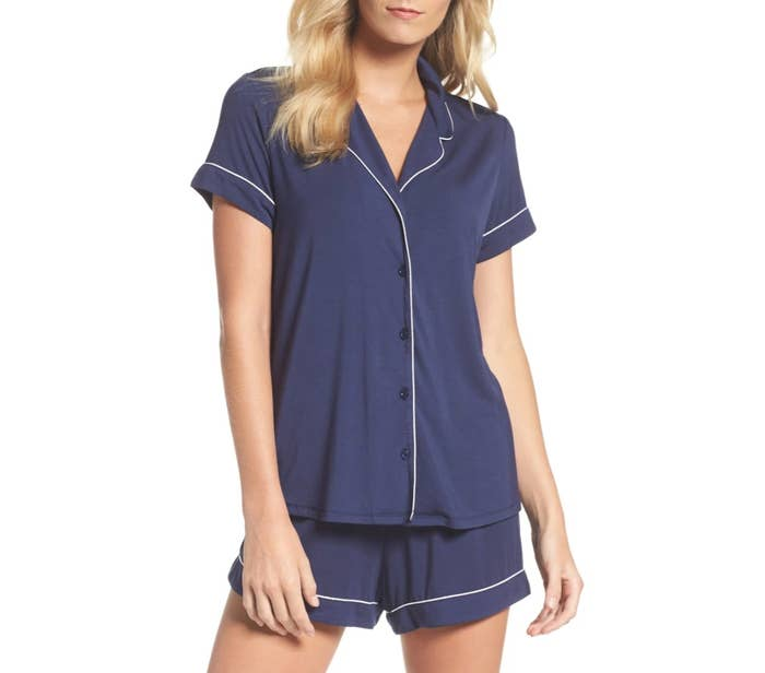 the short pajama set in navy peacoat