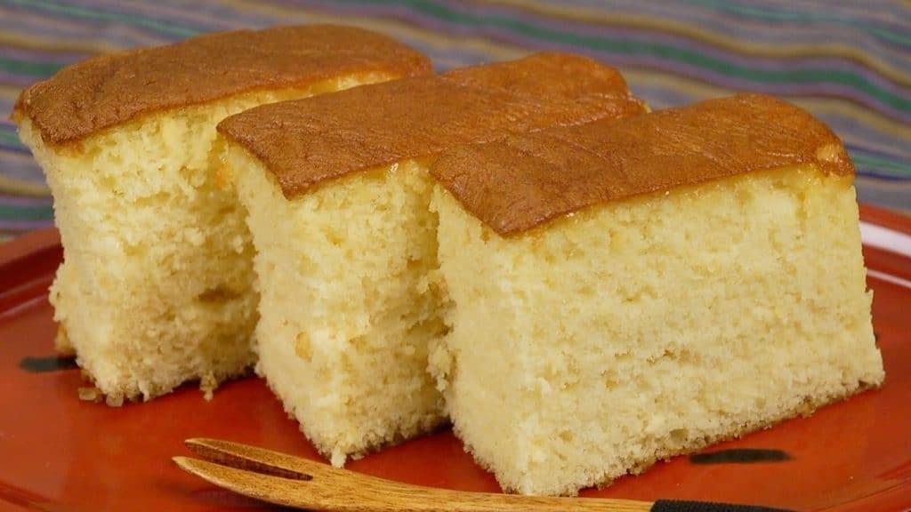 Slices of fluffy Kasutera sponge cake.