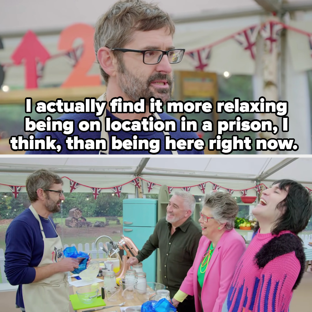 Theroux says he finds being in a prison more relaxing than being on bake off