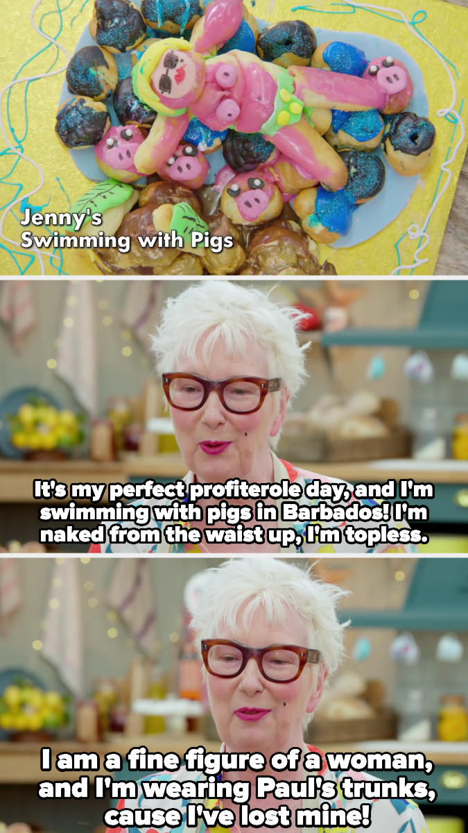 Jenny describes her bake, which involves her topless on the beach in Paul's bathing suit