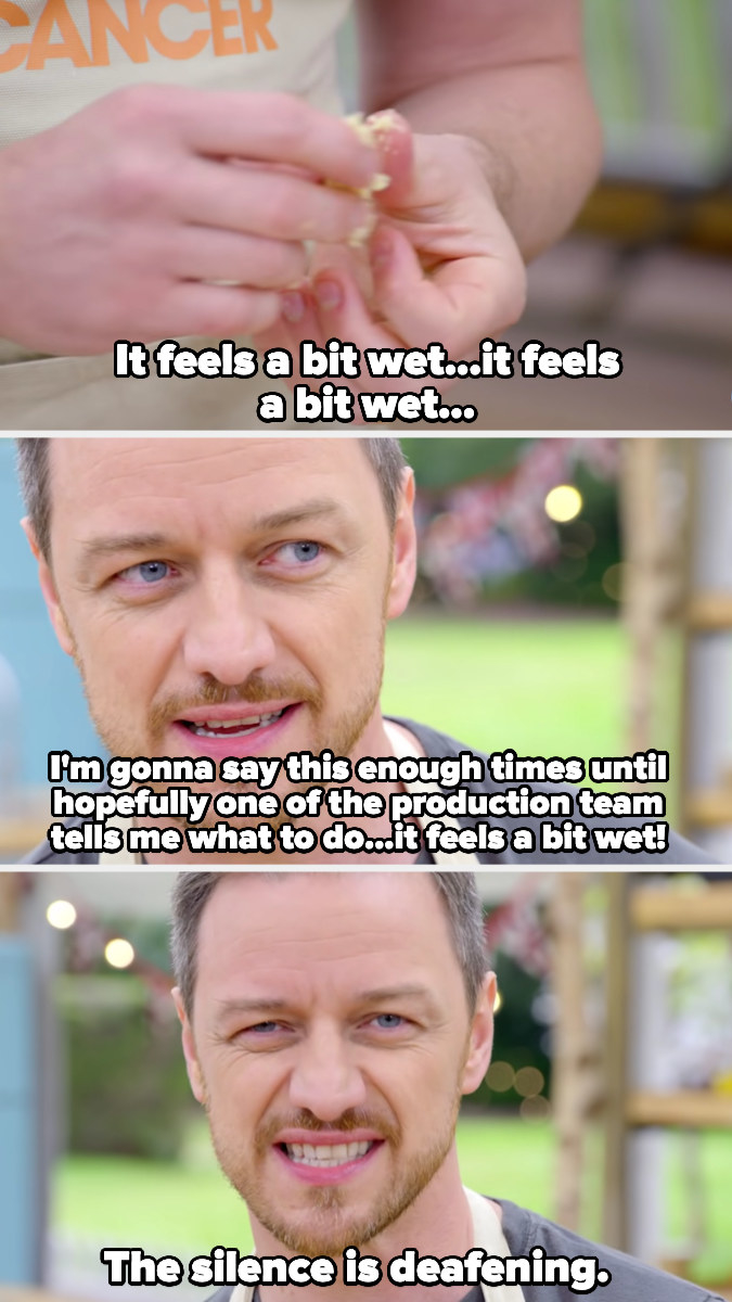 """James McAvoy says he's going to say """"it feels a bit wet"""" until the production team tells him how to fix it"""