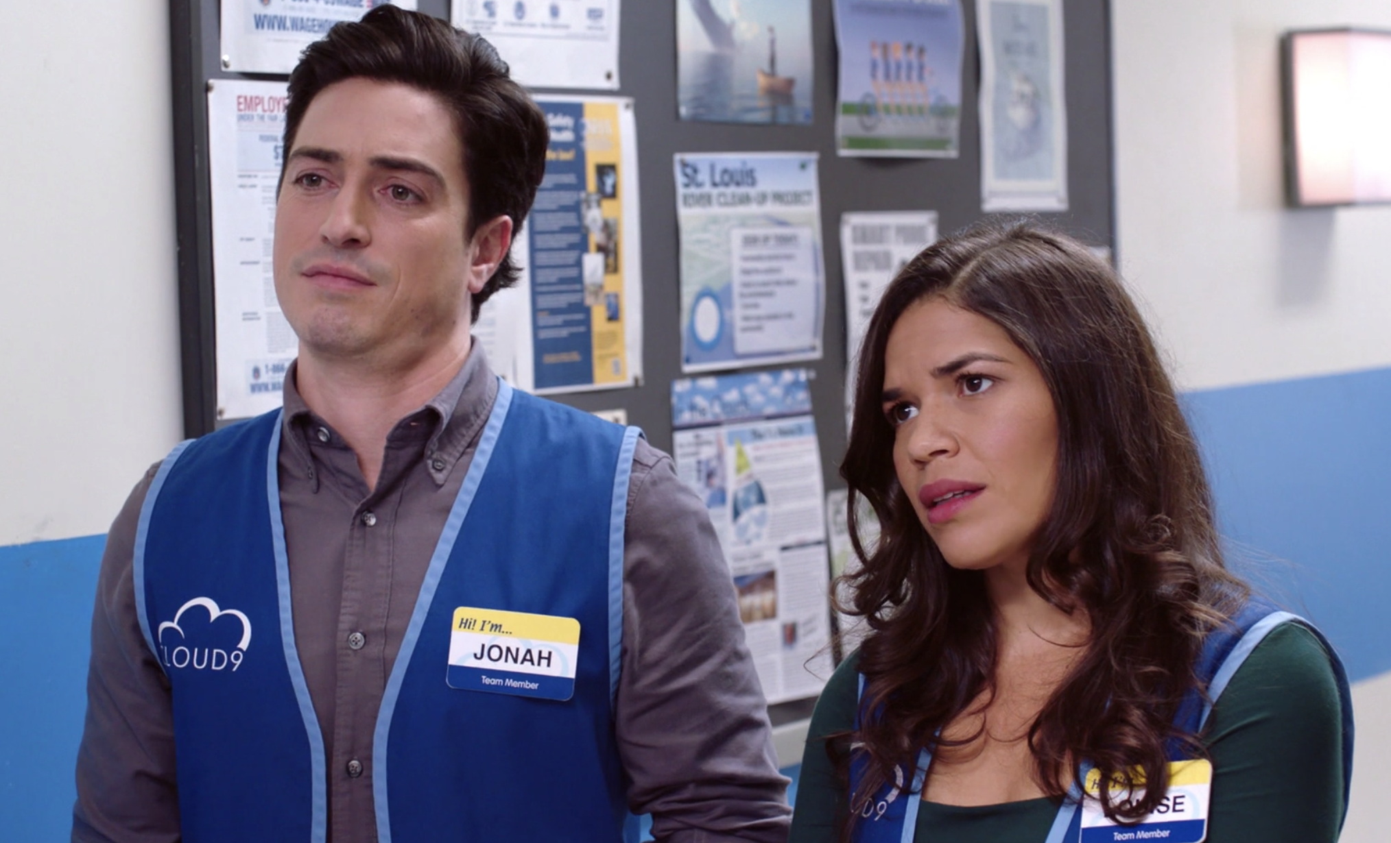 "Ben Feldman andAmerica Ferrera as Jonah and Amy on ""Superstore"""