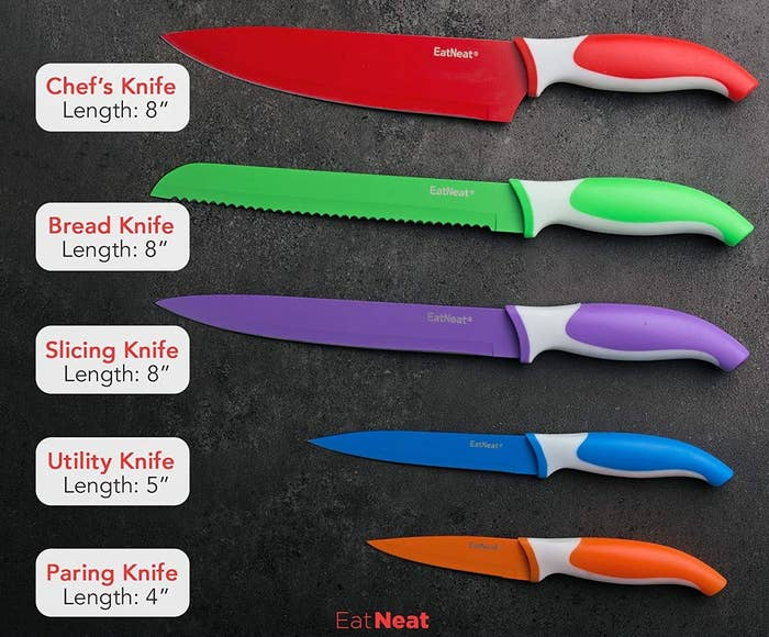 the five color coded knives with the names of each written next to them