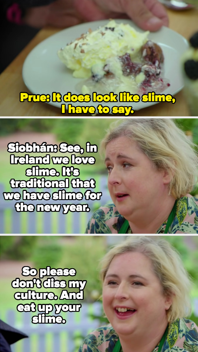 Siobhan jokes that her slime-like trifle is actually part of an Irish tradition