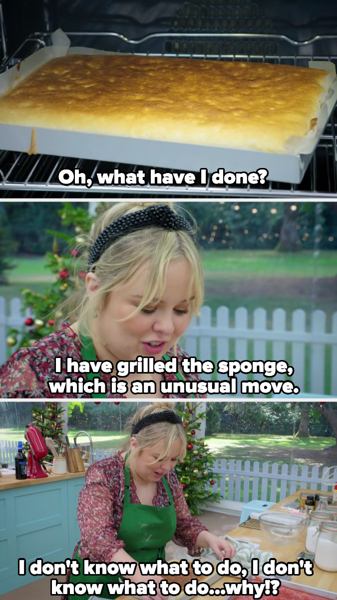 Nicola realizes she's accidentally grilled her sponge