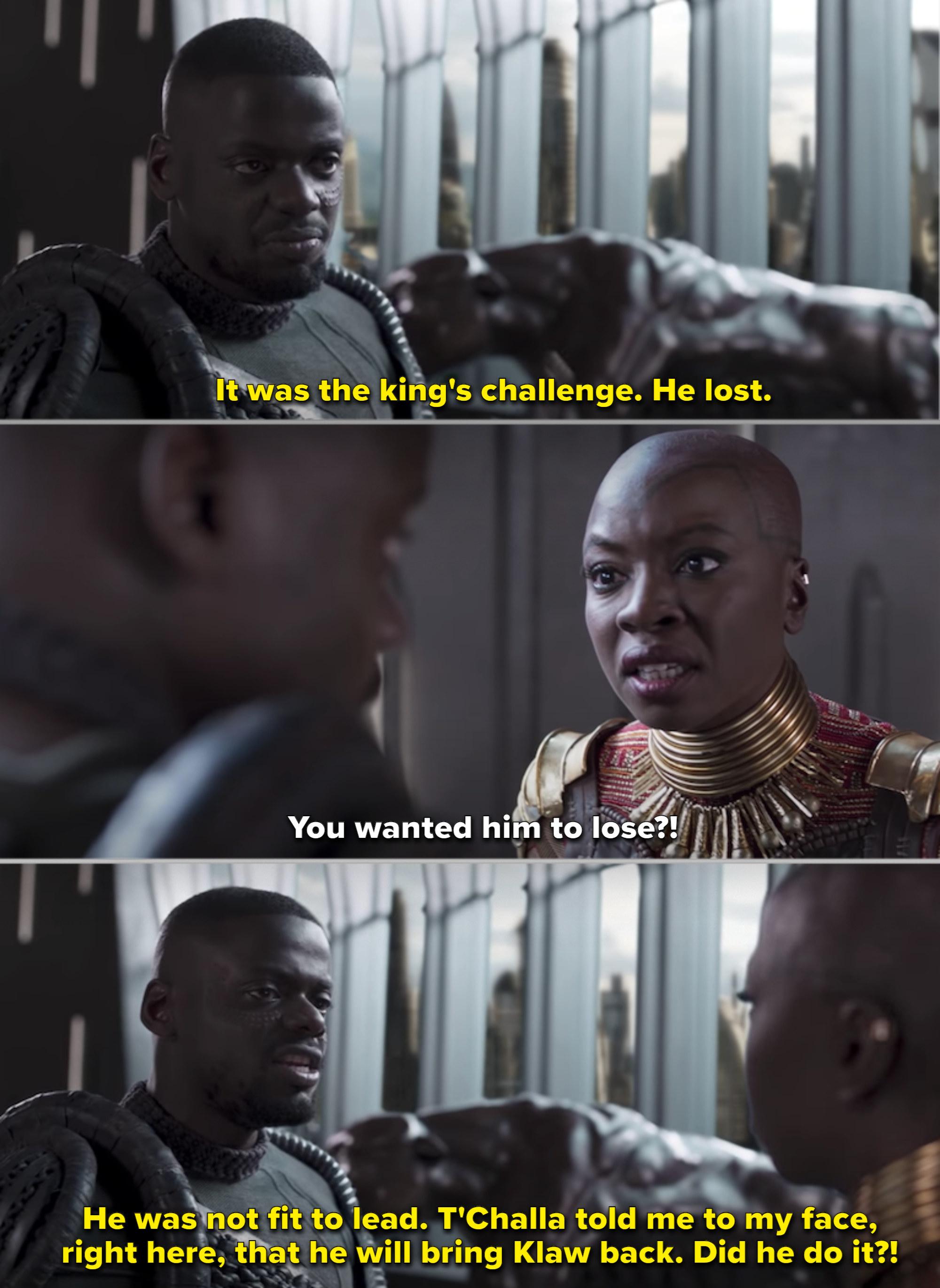 Okoye and W'Kabi talking in the trival room